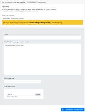 Billedet viser formularen, der vises efter log-in med NemID.
